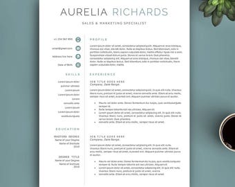 Professional Resume Template, Instant Download. Resume for Word and Pages. Fully Editable Professional CV Template. Modern Resume Template.