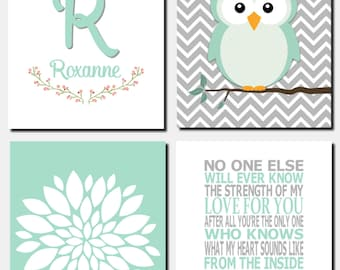 Owl Nursery Art, Mint Gray Owls, Kids Wall Art, Initial, The Strength of my Love, Baby Girl, Baby Room Decor, Set of 4, Prints or Canvas
