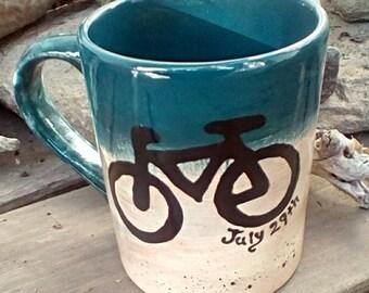 12 oz Personalized bike mug pottery coffee mug latte tea bistro mug made to order ceramic pottery mug custom mountain bike rustic mug