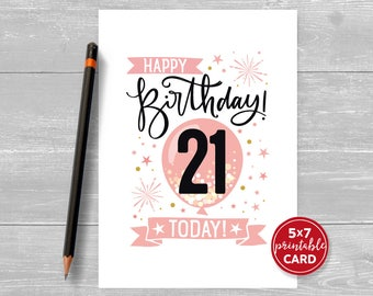 "Printable 21st Birthday Card in Pink - Happy Birthday 21 Today! - 21st Card For Her - 5""x7"" + printable envelope template. Instant Download."