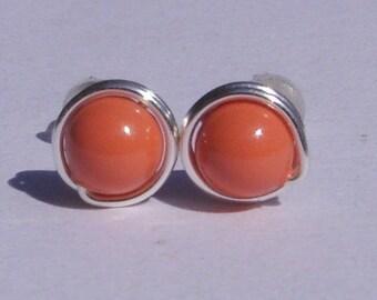 Small Coral Pearl Stud Earrings (7mm), Swarovski Pearl Stud Earrings, Wire Wrapped Sterling Silver Stud Earrings, Small Stud Earrings