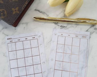 Pocket Small Marble/Rose Gold foil Monthly (MO2P) planner inserts paper | Planner refills for Kikki k, Filofax, Louis Vuitton PM agenda
