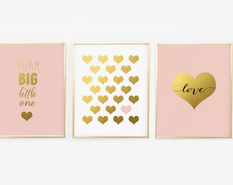 Pink Nursery Wall Set of 3 - Faux Gold Foil Print, Pink and Gold Wall Art,  blush Nursery prints, dream big little one, Gallery (1350-3)