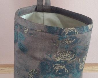 Tonal Brown Flowers Daiwabo Fabric Vinyl-lined Classy Car Trash Bag / Item # CL508