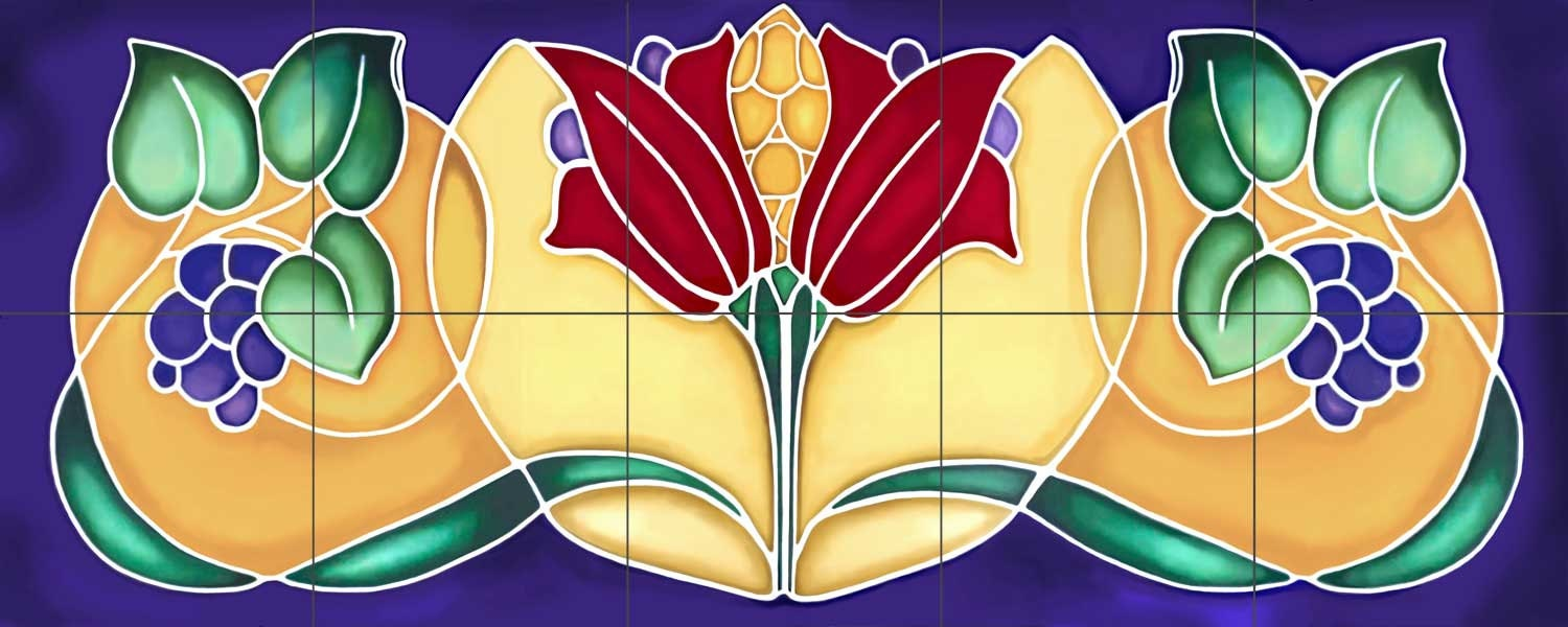 Art deco grapes decorative ceramic tile mural zoom dailygadgetfo Image collections