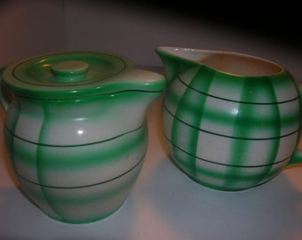 czechoslovakia pair of green plaid pitchers
