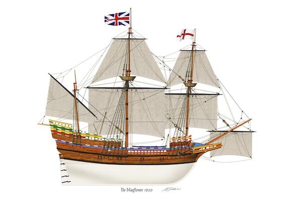 The Mayflower 1620 Pilgrim Fathers Profile Artwork A3 Glossy