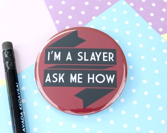 Buffy the Vampire Slayer Badgeor Pocket Mirror. Buffy Badge Pin. Buffy Keyring. Buffy Pocket Mirror. Buffy Gifts. Vampire Badge. Buffyverse