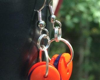Button earrings, Florida Gators, dangle earrings, orange and blue button earrings, team earrings, gameday earrings