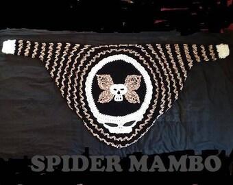 PDF Crochet Pattern Only RIP Skull Deaths Head Moth Cocoon Shrug