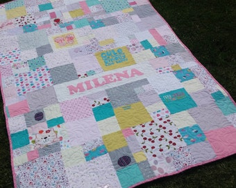 Custom Baby Clothes Quilt - Memory Blanket - Memory Quilt - Baby Blanket custom quilted made to order - deposit to secure.