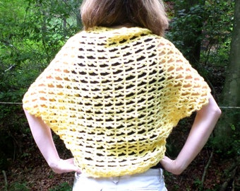 Yellow Oversized Shrug - Crochet Yellow Cardigan Ready Made - Lacey Loose Top