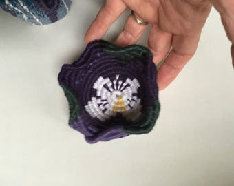 Purple pansy miniature coiled linen basket