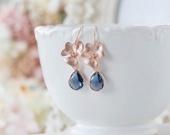 Rose Gold Orchid Flower Navy Blue Glass Dangle Earrings, September Birthstone, Wedding Bridal Earrings, Bridesmaid Gift, Gift for mom her