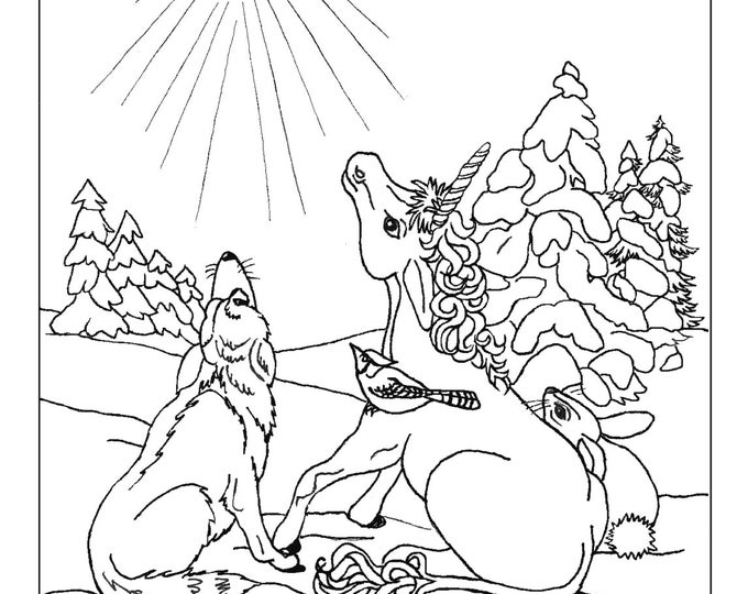 COLORING PAGE - FANTASY; digital download, young unicorn, wolf, rabbit, blue jay, bird, star, winter, original art,