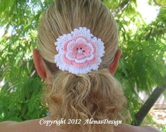 Crochet Pattern 060 - Crochet Flower Pattern - Flower Clip Pattern - Hair Clip Pattern - Hair Accessory Pattern - Girls - Ladies - Women