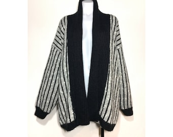 sz. 46 (XL)   vintage 80's oversized striped heather grey & black shawl collar cocoon open front wool blend knit cardigan sweater
