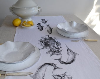 Hand Printed Linen Table Runner - Fish