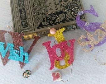 Joy is Love Singing, Glitterbit, Joy Gift Tag, Heirloom Button, Encouragement Custom door tag, Glitter cake topper