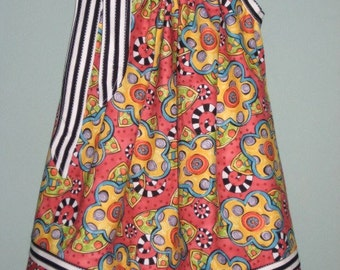 Happy Red and black floral Pillowcase Dress, Size 3