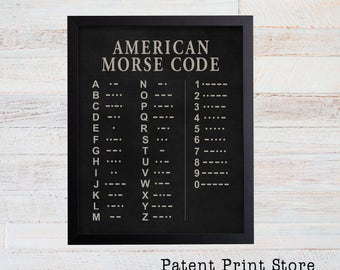 American Morse Code Art Print. Morse Code Poster. Man Cave Wall Art. Man Cave Decor. Man Cave Sign. Man Cave Wall Decor. Farmhouse Decor. 26