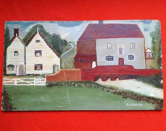 Naive Vintage Oil Painting on Board