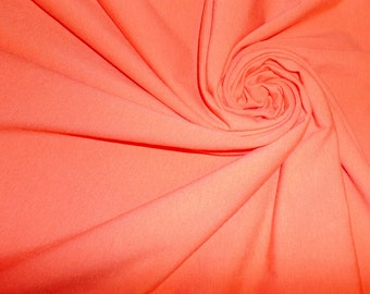 Solid Cotton Lycra Spandex Fabric - Coral Pink Cotton Lycra Knit Fabric - 4 Way Stretch - Stretchy Fabric by the yard - The Fabric Zoo