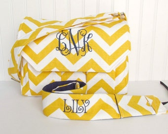 Personalized Chevron Padded Compact Camera Bag in Yellow and Navy with Camera Strap Digital Canon Rebel T3i EOS 55mm Monogrammed Camera Bag