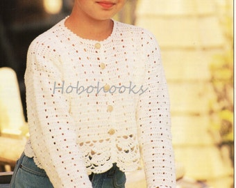 CROCHET girls lacy cardigan  - 24 to 32 inch chest - 4 ply - Crochet Pattern - PDF instant download