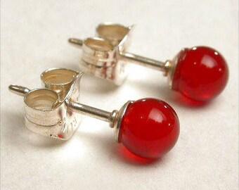 Carnelian 4mm Round Studs Earrings