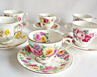 6 Teacups and Saucers Instant Collection Tea Party Baby Shower Vintage Teacup Saucer Floral Wedding Bridal Party