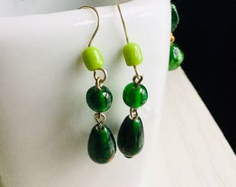 Green earrings with glass beads