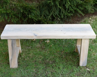 Reclaimed Wood Whitewashed Bench, Entryway Bench, Barn Wood Bench