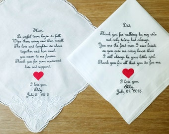 wedding handkerchief | personalized handkerchief | personalized mens handkerchief | wedding gifts for parents | mother of the bride gifts
