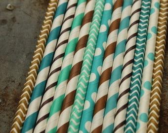 Cowboy Straws, Blue Brown Paper, Barn Birthday, Boys Shower, Farm Wedding, Rustic Drinking, Mason Jar Straws,Cow Spot Straws,Rodeo Reception