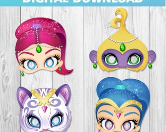 4 Shimmer and Shine printable masks Birthday Party - pdf - instant download