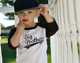 Big Brother Shirt - Little Brother - Raglan Tee - Personalized Shirt - Brother Gift - Toddler - Kids Shirt - Boy's Shirt - Baby Announcement