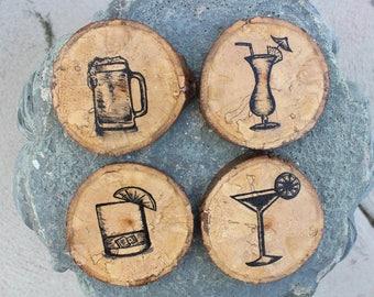 Natural wood coasters, wood slice coasters, rustic coaster set, beer lover gift, beer coasters, cute coasters, Set of 4