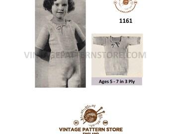Girls 1930s underwear, bodice vest and knickers set - Vintage PDF Knitting Pattern 1161