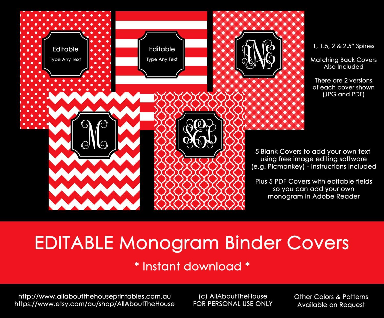 Editable Printable Monogram Binder Cover and spine chevron