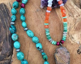 Pave Diamond Arrowhead Necklace | TibetanTurquoise | Chrysoprase | Amethyst | Carnelian | Gemstone | Bohemian | Tribal