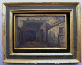 Oil Painting 1884 Signed DAUMONT Landscape Old Farm Barn MONTIGNY (Yvelines)
