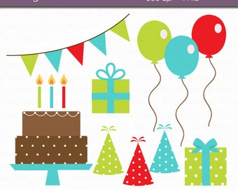 Birthday Party Digital Art Set Clipart Commercial Use Clip Art INSTANT DOWNLOAD Birthday Clipart Party Clipart