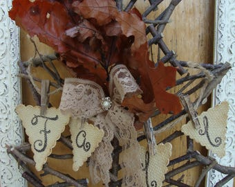 Fall wreath rustic home decor farmhouse wall hanging twig wreath leaf natural decorations cottage chic Thanksgiving maple leaf wall decor