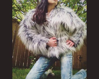Handmade reversible sustainable grey ombre faux fur bomber with star lining size L