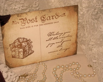Vintage Post Card to Santa Hand Stamped and Distressed Gift Tags ECS