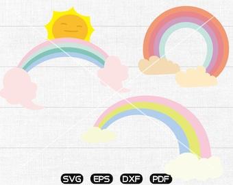 Rainbow SVG, Rainbow with cloud svg, Rainbow with sun Clipart, cricut, silhouette cut files commercial use