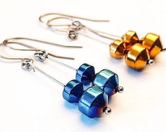 Metalikus Collection Lantern Blue Gold Hematite Stainless Steel Earrings