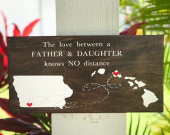 Fathers day | fathers day gift | father sign | father daughter gift| dad | father daughter |father of the bride gift | states connected