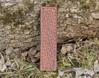 Leather bookmark - Basketweave pattern